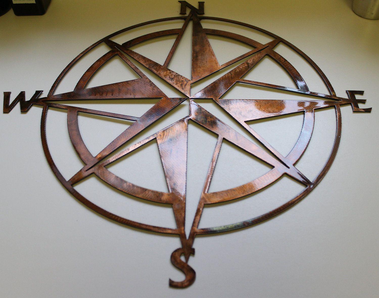 Nautical Compass Rose Wall Art Metal Decor Copper Bronze Plated