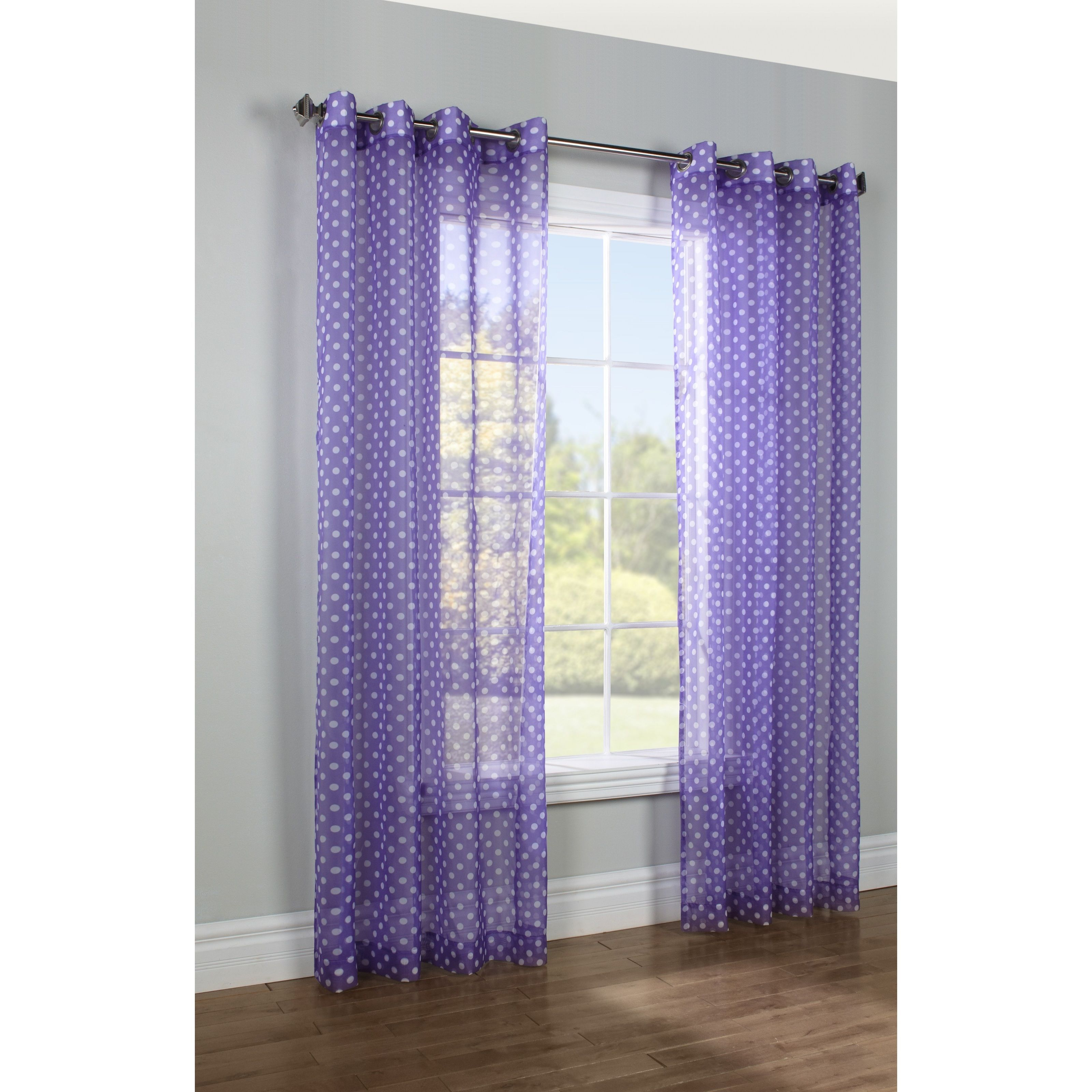curtain inch top panel sheer fashions drapes grommet color size printed w l curtains dot purple or pin x home dots single commonwealth polka