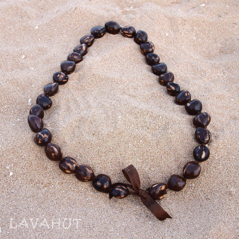 Marble Brown Kukui Nut Hawaiian Lei
