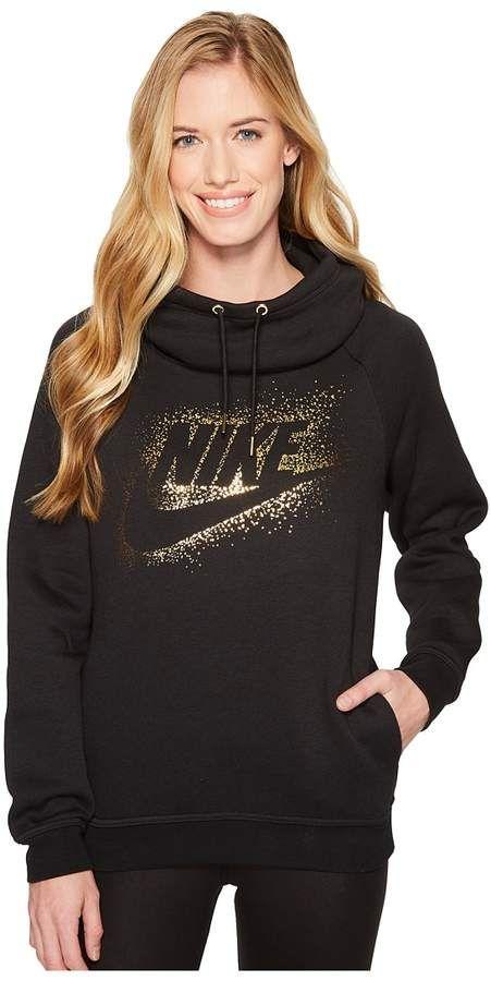 aa8adb9e99ee Nike Sportswear Rally Metallic Funnel-Neck Pullover Hoodie Women s  Sweatshirt