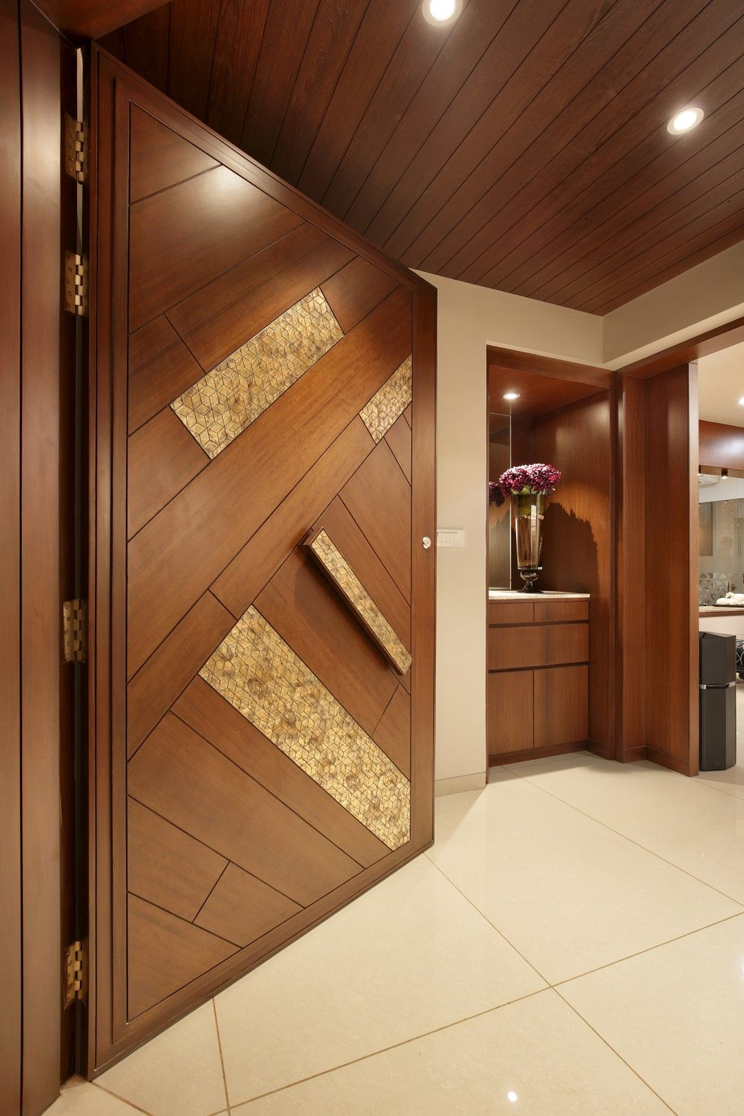 20 Best Modern Door Designs From Wood: 3 BHK Flat Interiors - The Oak Woods