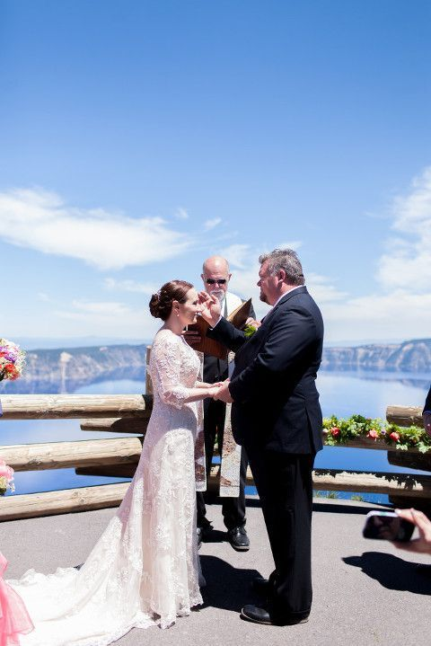 Crater Lake Oregon Wedding Photos: Alan + Jacy #craterlakeoregon Crater Lake Oregon Destination Wedding Photos in Crater lake national park | Historic Crater Lake lodge | Maggie Sottero Lace Wedding Gown | Ashley Cook Photography #craterlakeoregon