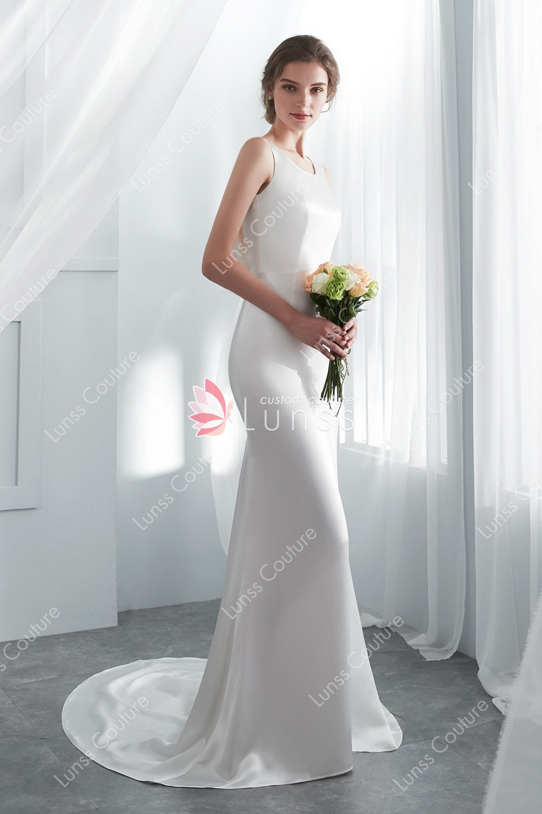 b9b2ee96792bc Ivory Elegant Acetate Satin Beaded Lace Long Mermaid Wedding Gown with Cowl  Back