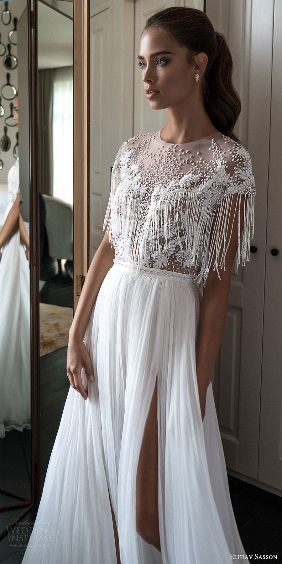 0128529cf3c elihav sasson spring 2018 bridal jewel neck cap sleeves fringe beaded  bodice a line wedding dress (vj 01) slit skirt mv boho -- Elihav Sasson  2018 Wedding ...