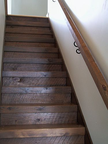 Best Custom Rough Hewn Pine Stairs In 2019 Farmhouse Stairs 640 x 480