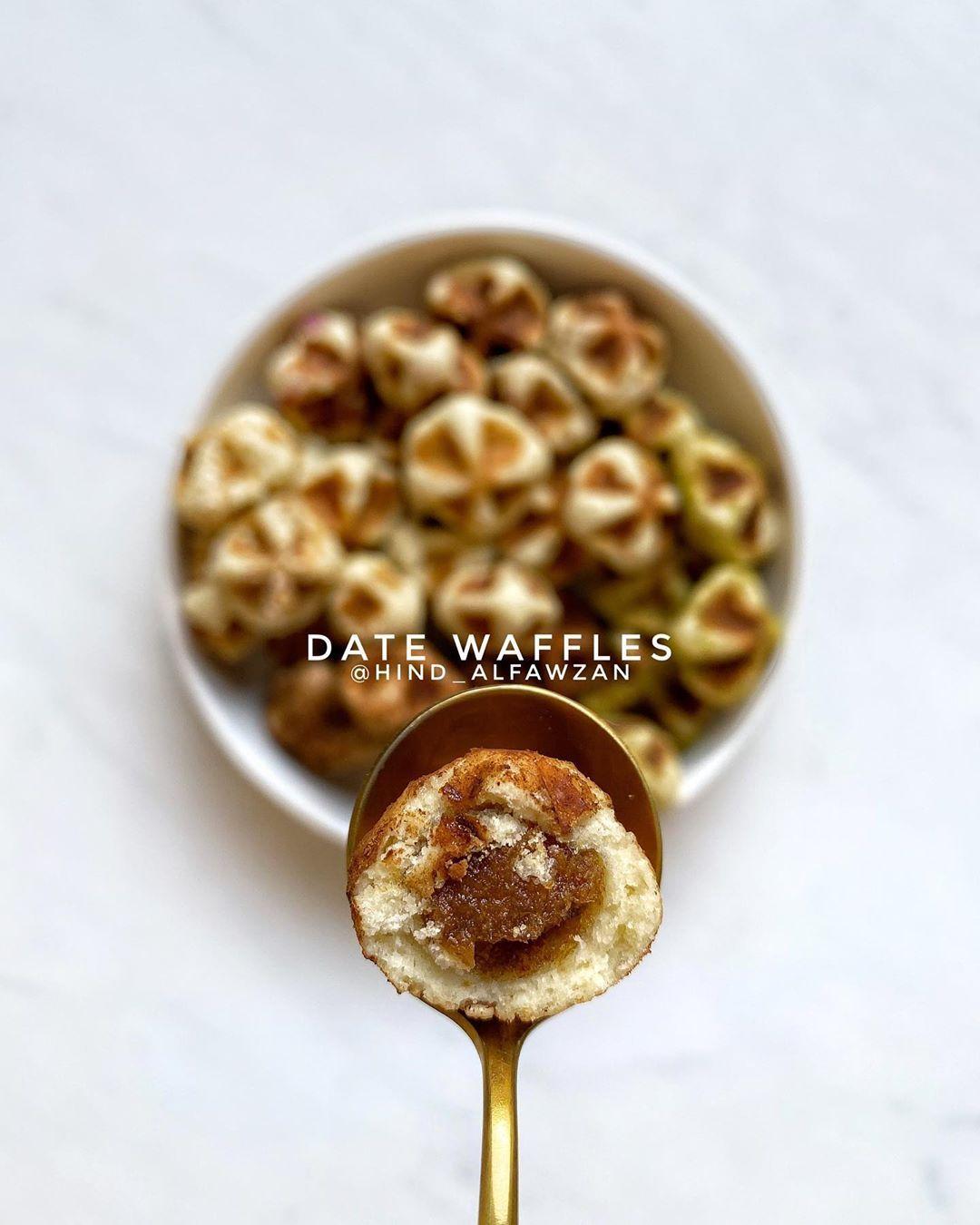 هند الفوزان On Instagram معمول الوافل قطع أنيقة من البسكويت المقرمش محشو بالتمر بسخاء وصفة لذيذة ويسيرة Hi Food Dessert Recipes Waffles