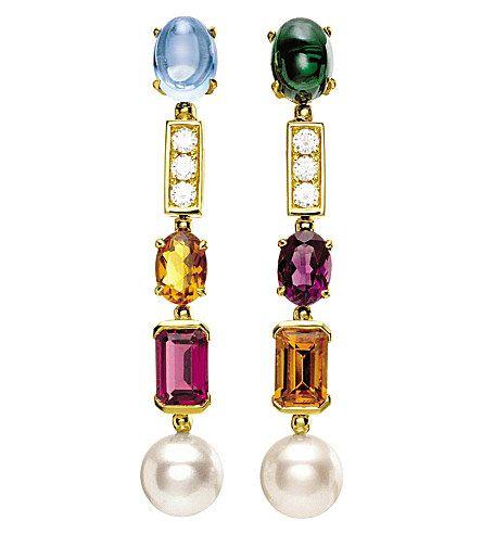 BVLGARI - Allegra two-band 18ct yellow-gold, pink tourmaline, peridot, blue topaz and pavé diamond ring | Selfridges.com
