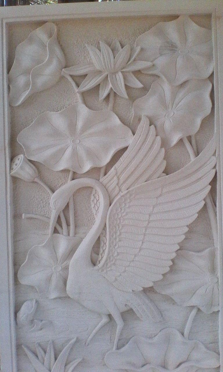 Relief Motif Bunga Lotus Dan Burung Bangau Burung Bunga Dinding