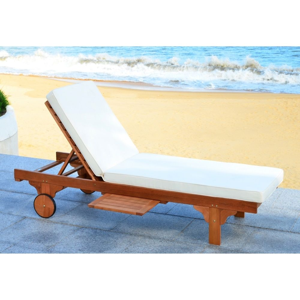 Casa Chaises De Jardin Safavieh Outdoor Living Newport Teak Brown Beige Adjustable