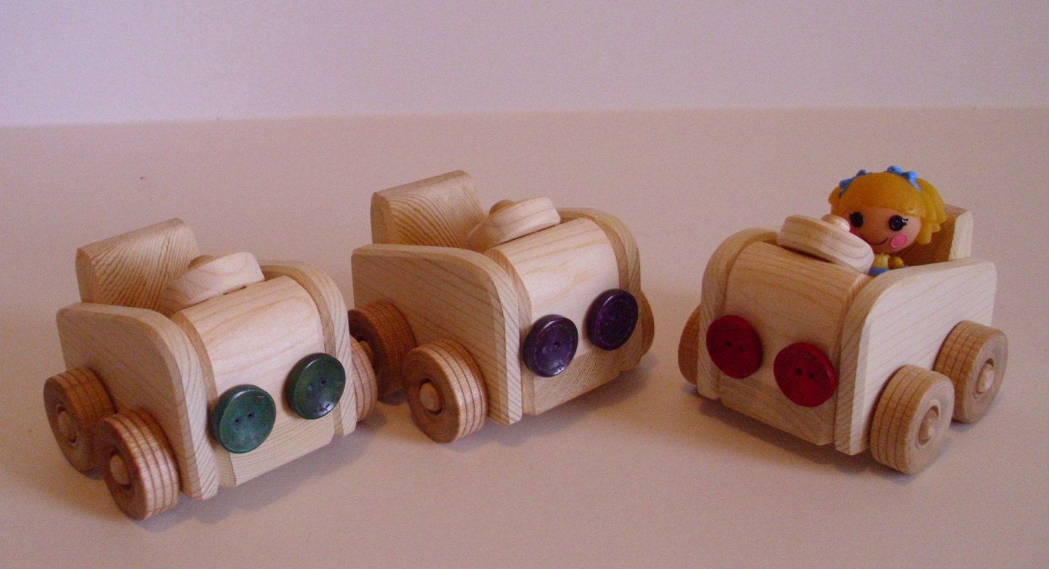 Mini Lalaloopsy-scale Doll Natural Wood Toy Go-Carts, Wooden Cars, Waldorf inspired.  via Etsy.