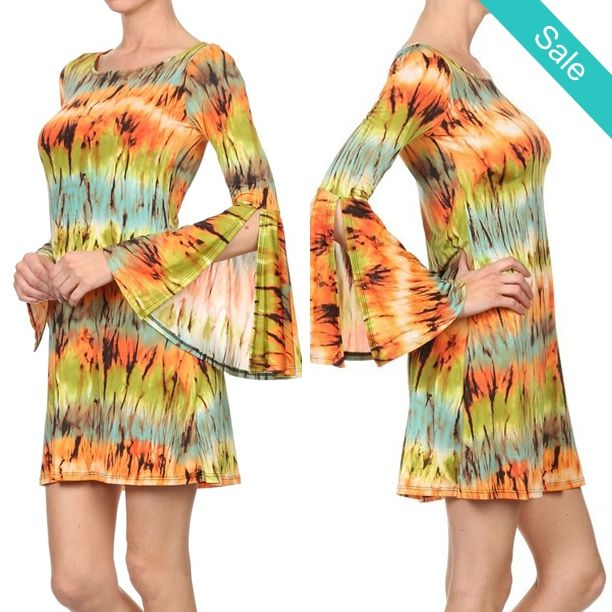 Boho Chic psychedelic Tunic Dress - Very Cute psychedelic Boho Retro Chic Dress, Batkik Dye with colorful eye-catching pattern, Flattering lines and long sleeves. Short dress in a relaxed style with kimono sleeves and a back keyhole button closure. - On Sale for $32.00 (was $39.00)