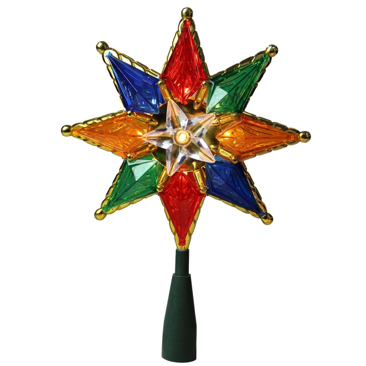 8 Multi Color Mosaic 8 Point Star Christmas Tree Topper  Clear