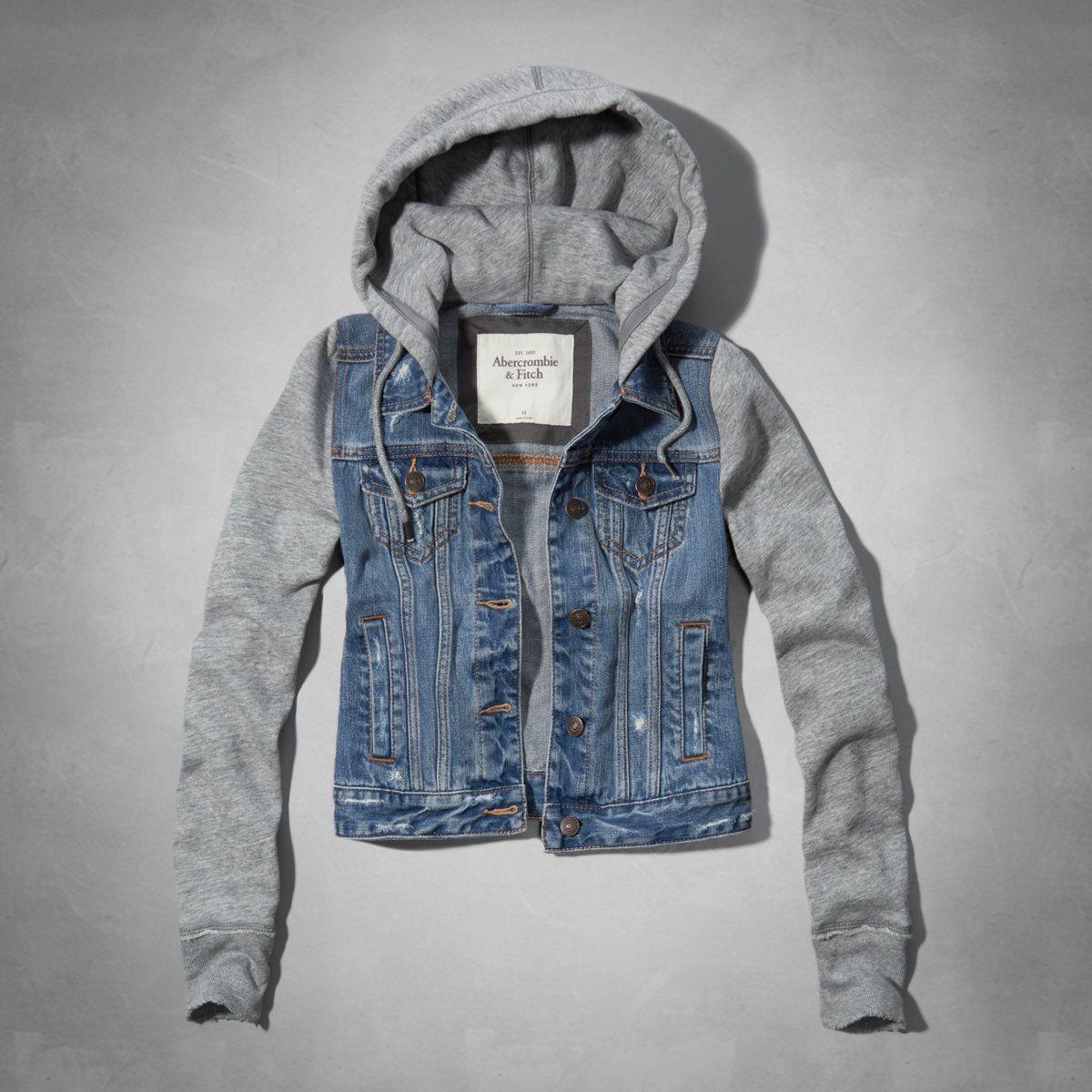 Womens Marisa Denim And Fleece Jacket Womens Outerwear Eu Abercrombie Com Fleece Jacket Womens Denim Jacket Women Outerwear Women [ 1200 x 1200 Pixel ]