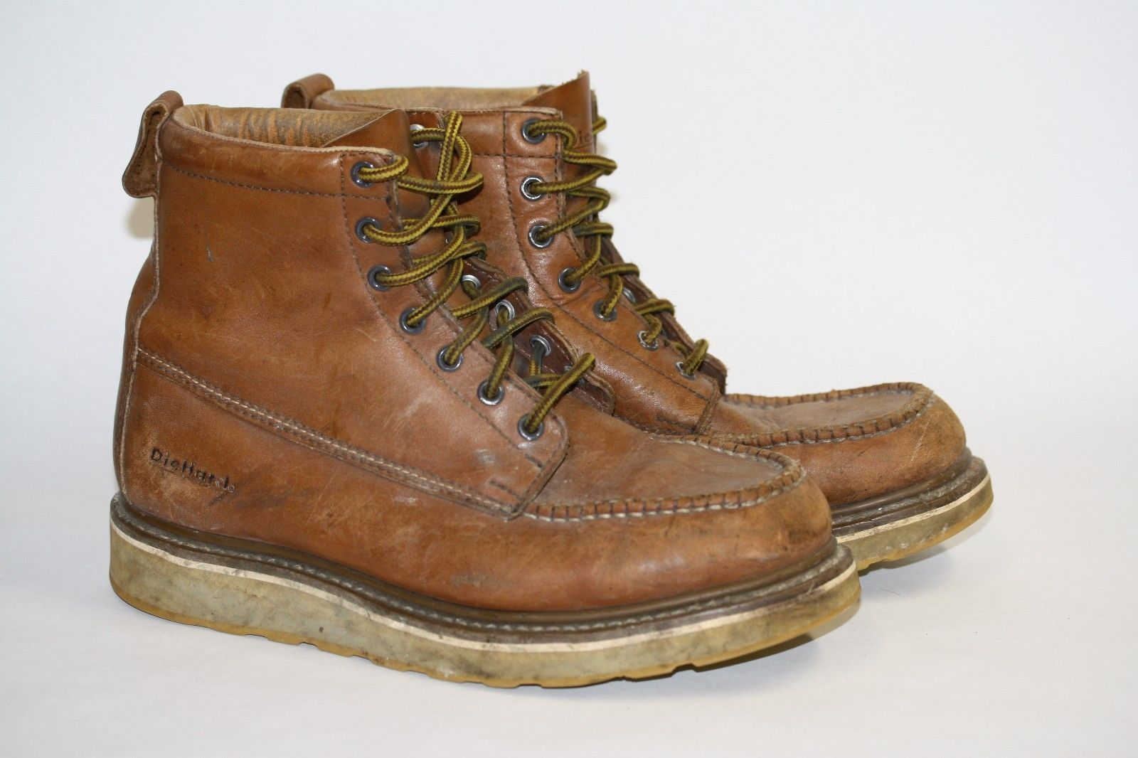 8a0aa1dd2906 Used Sears Diehard Sure Track Mens Work Boots Light Brown Size 10D Leather