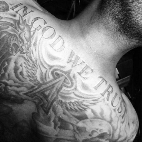 20 In God We Trust Tattoo Designs For Men Motto Ink Ideas Sleeve