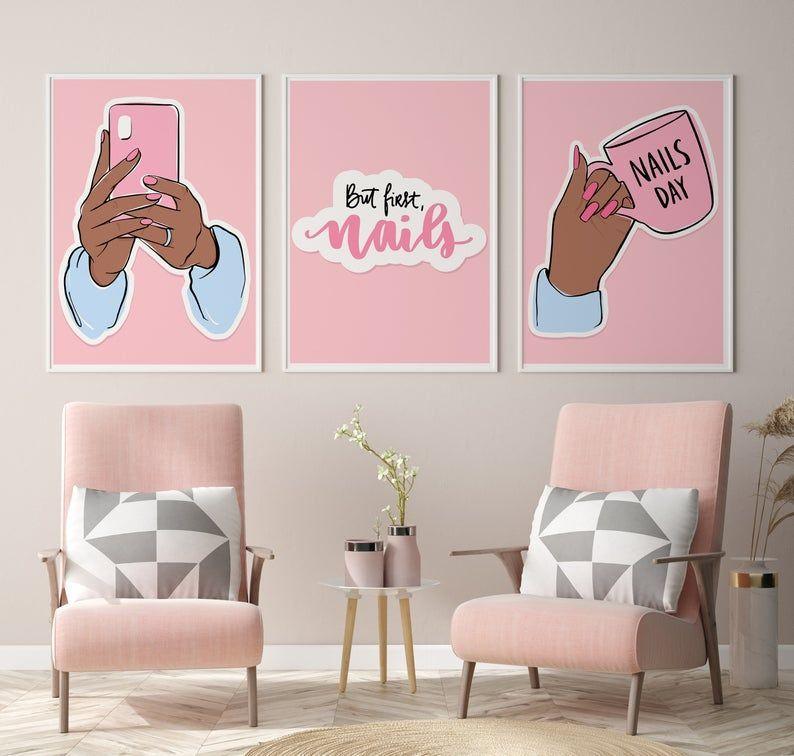 Set of 3 prints decor, But first nails, Nail room decor, Manicure print, Nail studio print, Beauty s