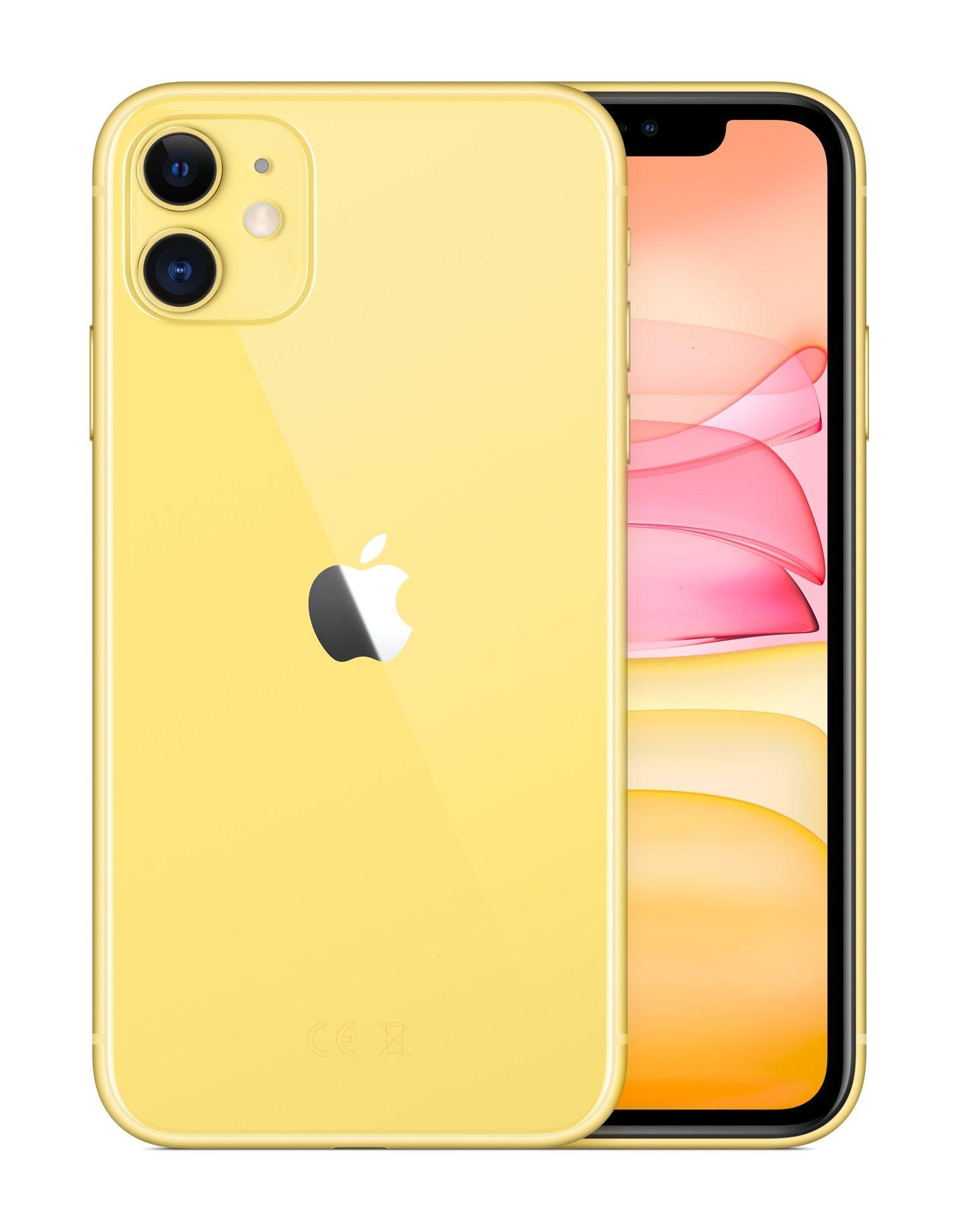 Apple iphone 11 155 cm 61 256 gb dual sim yellow in