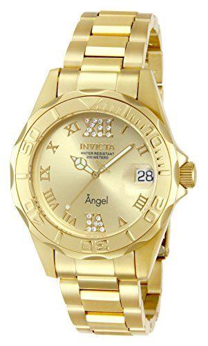 Invicta Women S 14397 Angel Analog Swiss Quartz Gold Watch Swiss Quartz Movement Case Diameter 37 Mm Magnified Date Wind Gold Watch Watches For Men Invicta