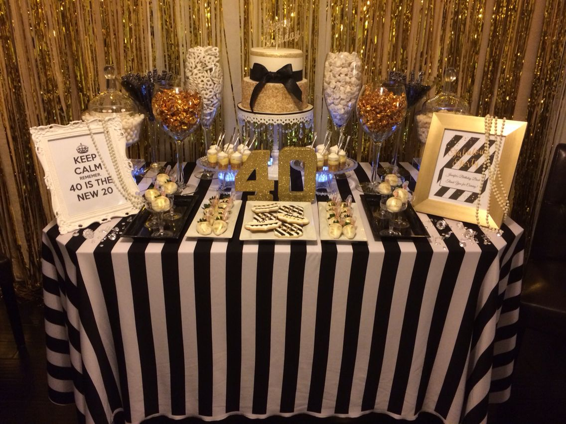40th birthday black white gold candy table