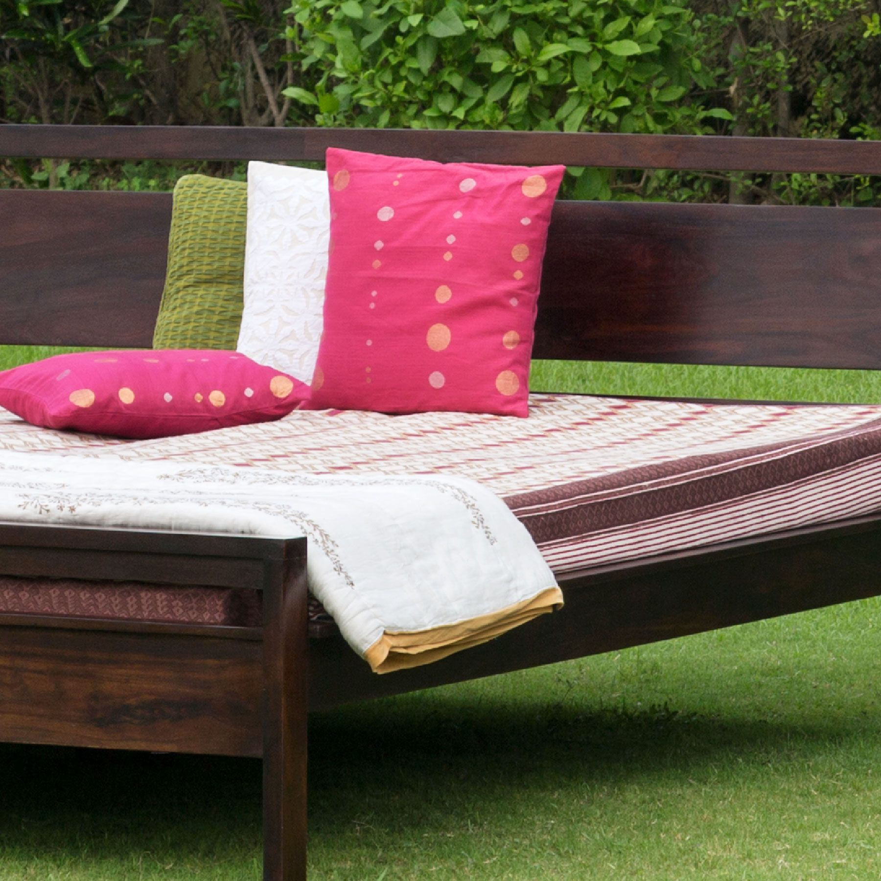 #furniture #wood #bed #cushions #linen #bedroom #colours