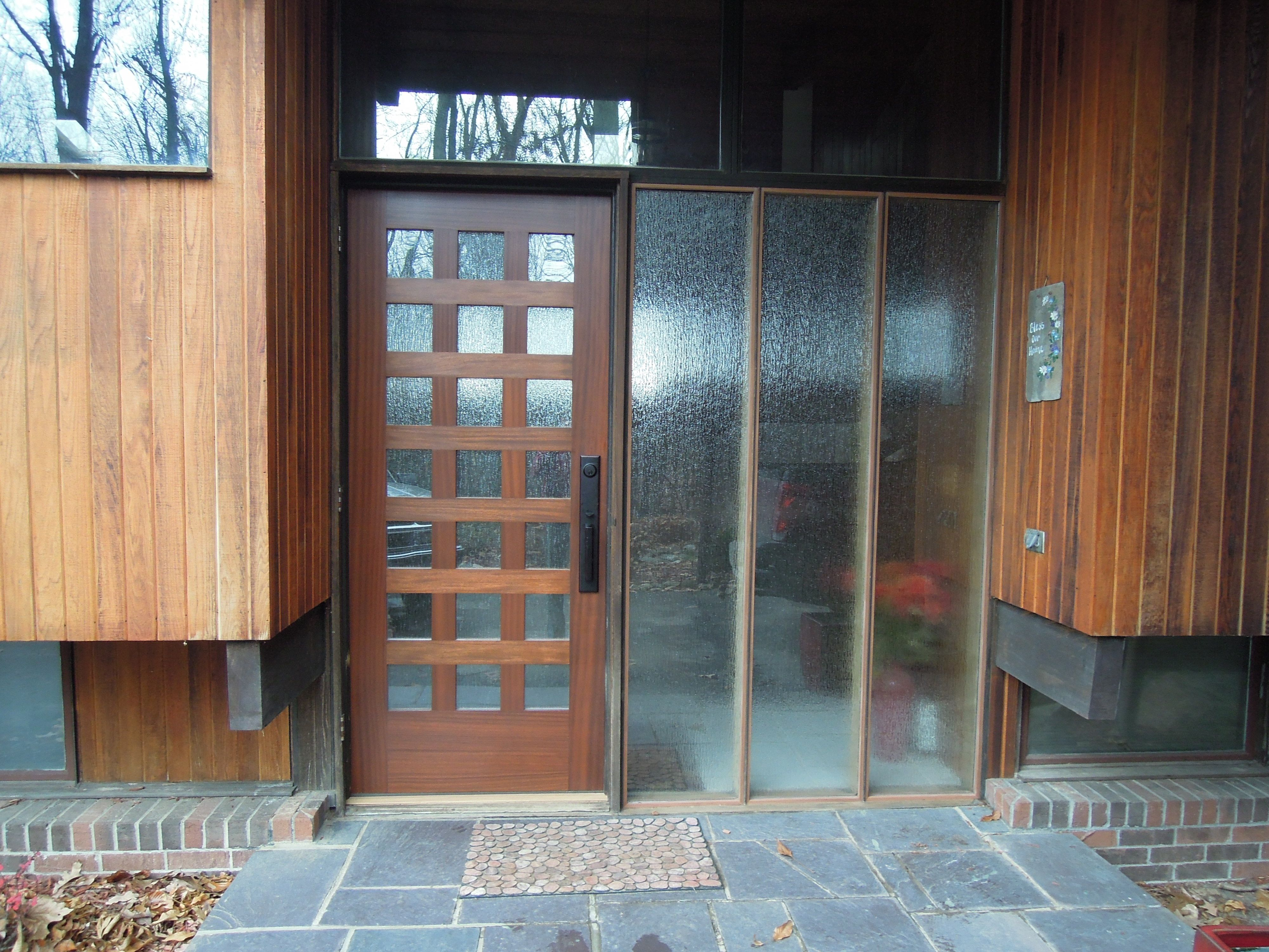 Winsome Wooden Modern Front Door With Clear Glass Lite And Triple