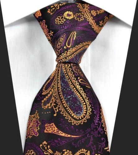 Black Mens Tie  Purple Orange Gold Necktie  Floral Gift