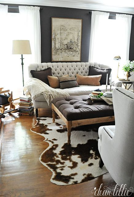 Beautiful Dark Gray Walls Neutral Furniture And Cowhide Rug Fabulous Room Home Decor Farm House Living Room Home Decor Styles