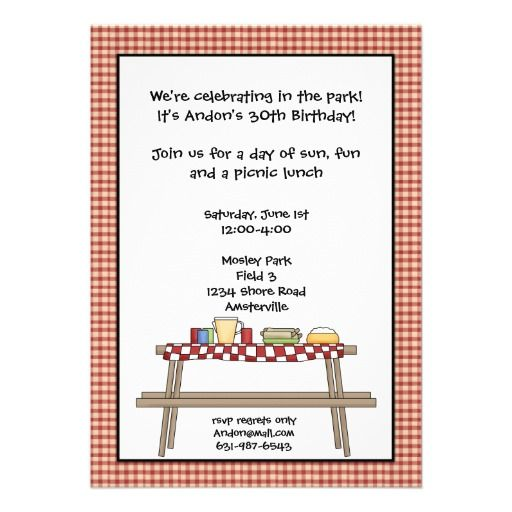 pin on picnic birthday party invitations
