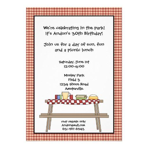 pin on picnic birthday party invitations