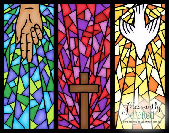 Holy Trinity Stained Glass Digital Artwork Print Free Etsy In 2020 Church Banners Designs Glass Wall Art Stained Glass Art