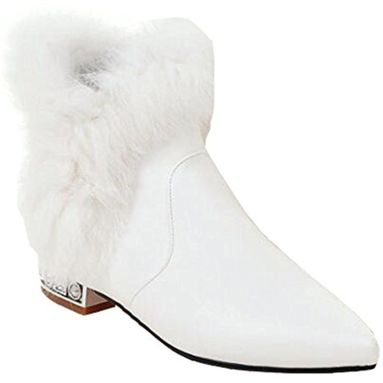 Women's Elegant Waterproof Fully Fur Lined Pointed Toe Pull On Low Heel Wedding Ankle Winter Boots