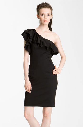 Rachel Zoe 'Isabelle II' One Shoulder Ruffle Dress *Adorable little black dress
