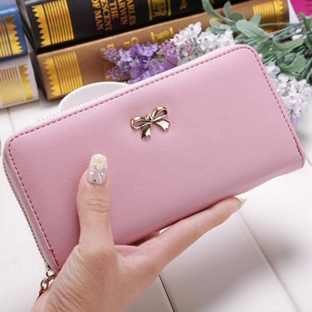 Brieftaschen-Frauen-lange Karten-Holde Bowknot-Kapazitäts-Geldbeutel-Beutel