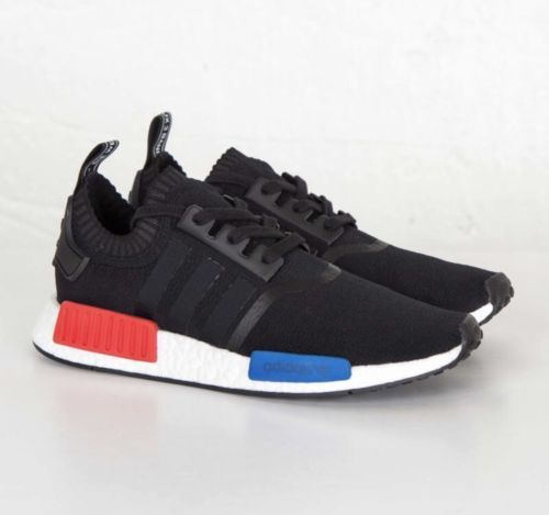 low priced 96b3b 255d4 Adidas NMDR1 OG PK Primeknit Sz 11 US MENS NEW BLACK WHITE RED BLUE S79168