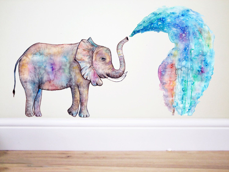 Elephant Rainbow Splash Elephant Wall Decal Elephant Sticker