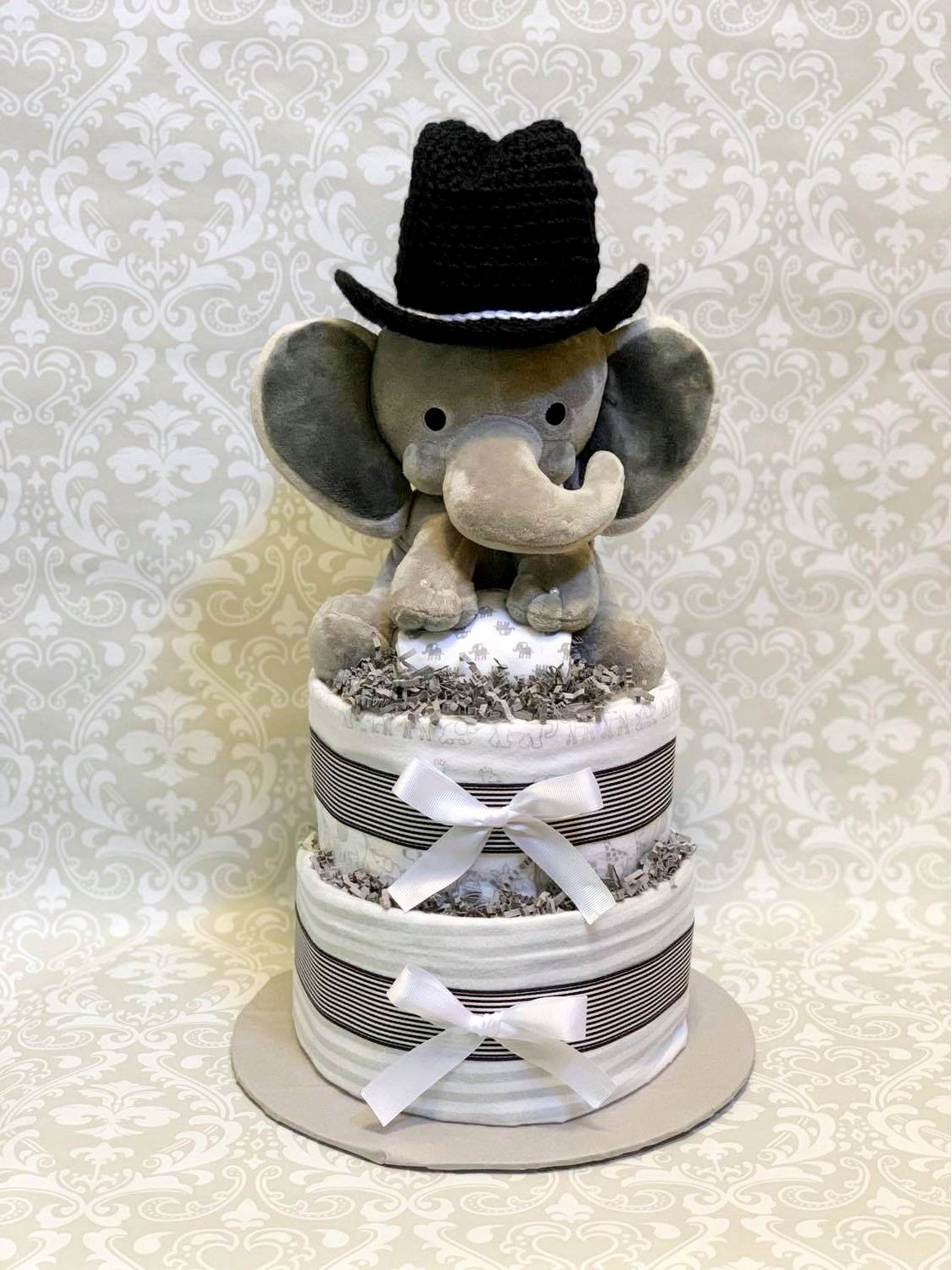 Baby boy diaper cake two tier blanket elephant diaper cake