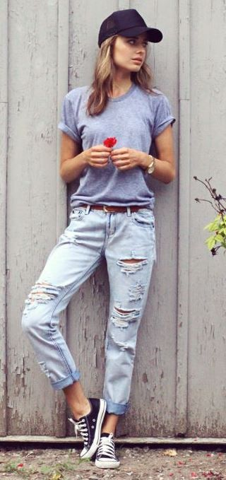 aa285fc129 40 Outfit Ideas To Wear Your Boyfriend Jeans And Still Look Awesome ...