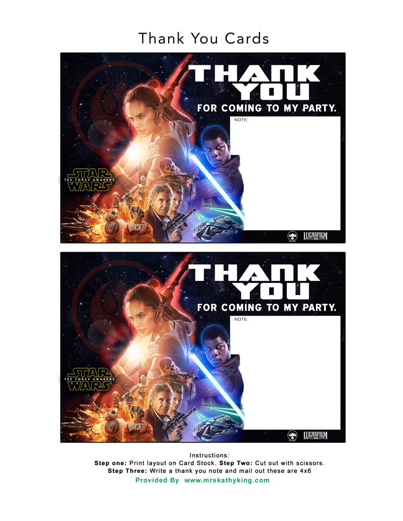 Free Star Wars: The Force Awakens Invitation & Thank You Card ...