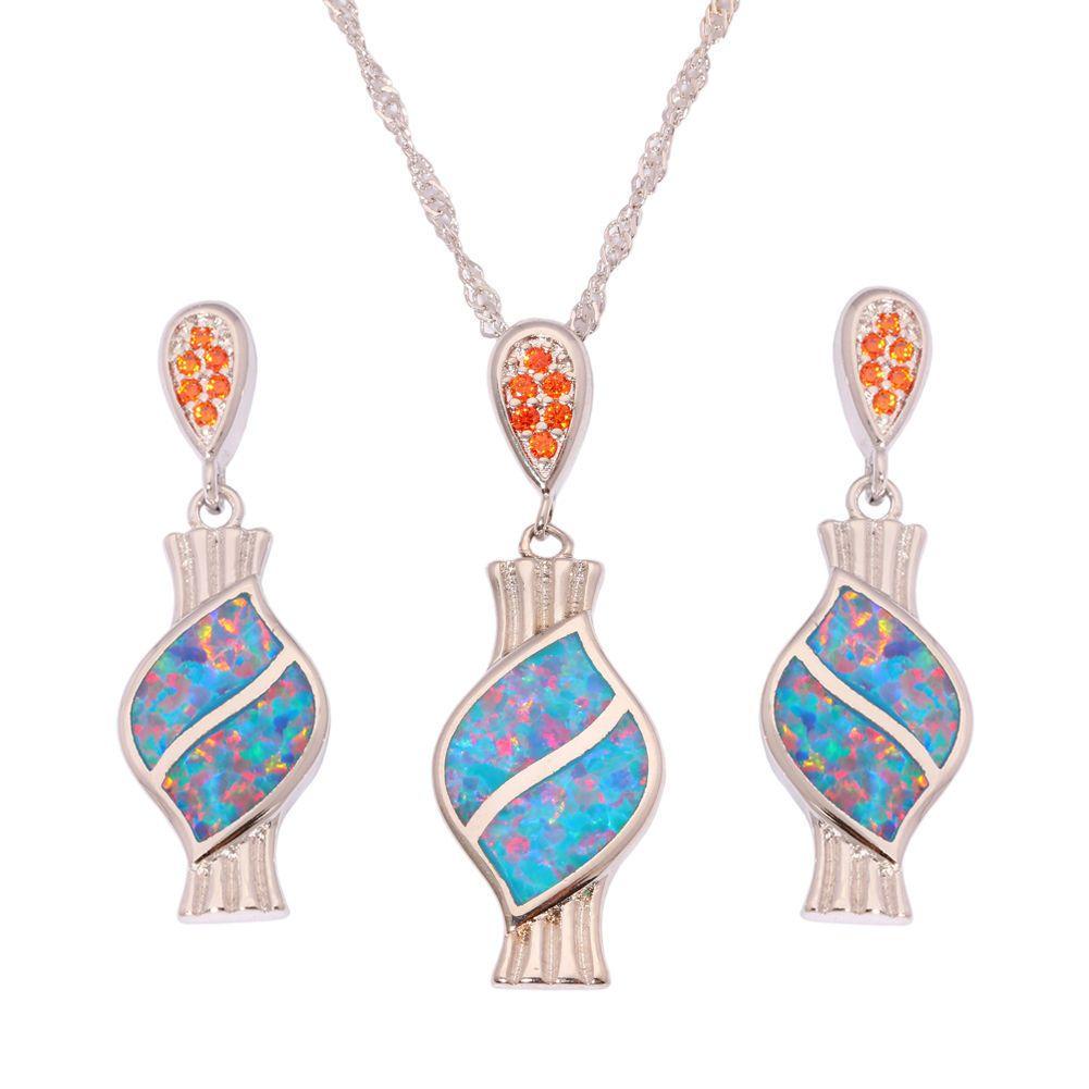 Rainbow opal silver for women jewelry pendant stud earrings jewelry
