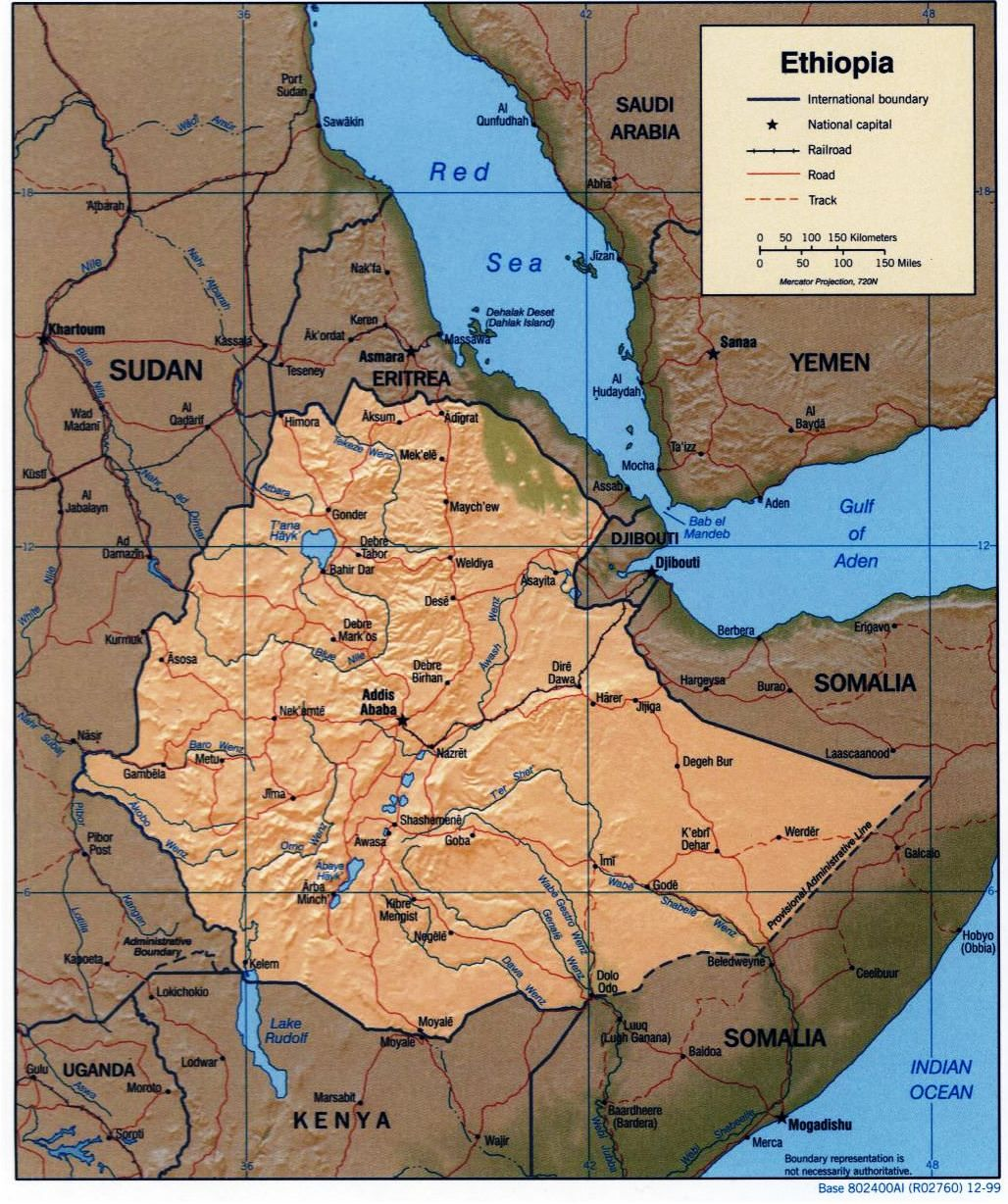 Ethiopian Administrative And Political Map 1999 Maps Pinterest