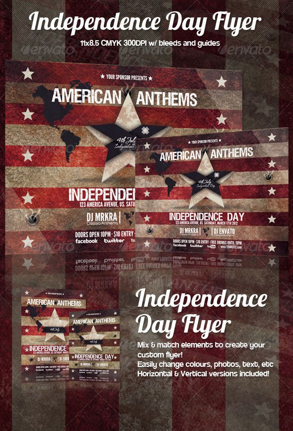 4th July \/ Independence Day Flyer Template Flyer template, Flyer - independence day flyer