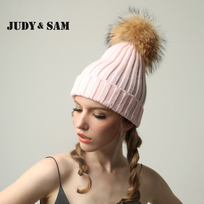 69911428a38 JSFUR Brand Women Winter Hats Wholesale Custom Logo Caps With Large Raccoon Fur  Pom Poms Hip