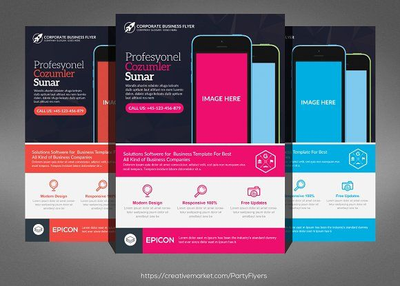 mobile app flyer template by party flyers on creativemarket