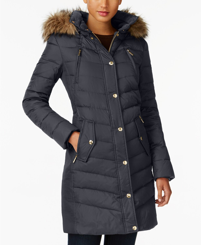 b8736d5e80901 CYBER MONDAY - 60% Off Michael Kors Faux-Fur-Trim Hooded Puffer Coat ...