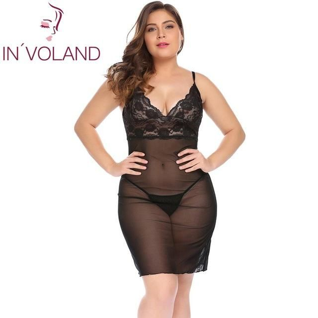 52e25f5bf48 IN VOLAND Plus Size XL-5XL Women Sexy Nightgowns Sleepshirts Dress  Nightdress Lingerie Sheer Babydoll Set with G-String Big Size