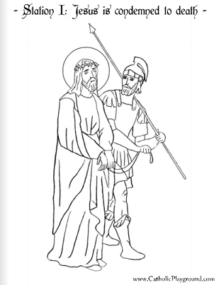 coloring page for the first station of the cross jesus is condemned to death
