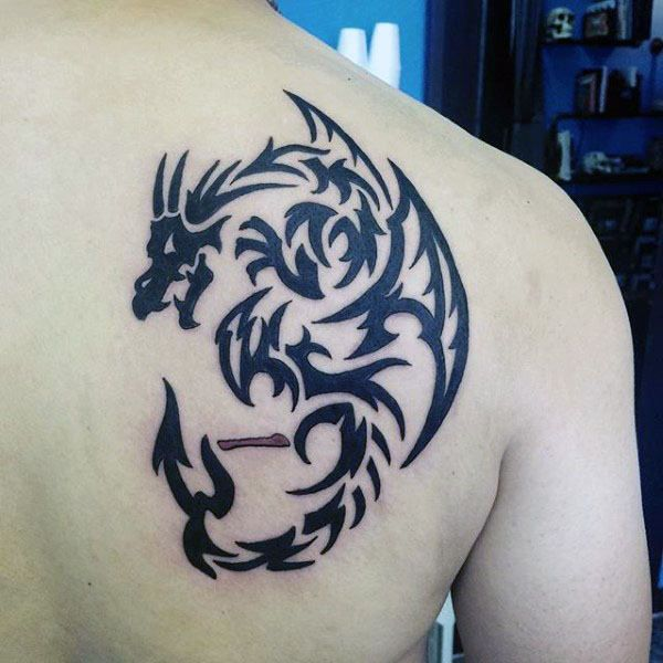 60 Tribal Dragon Tattoo Designs For Men Mythological Ink Ideas Tattoos For Guys Tribal Dragon Tattoos Tribal Tattoos For Men