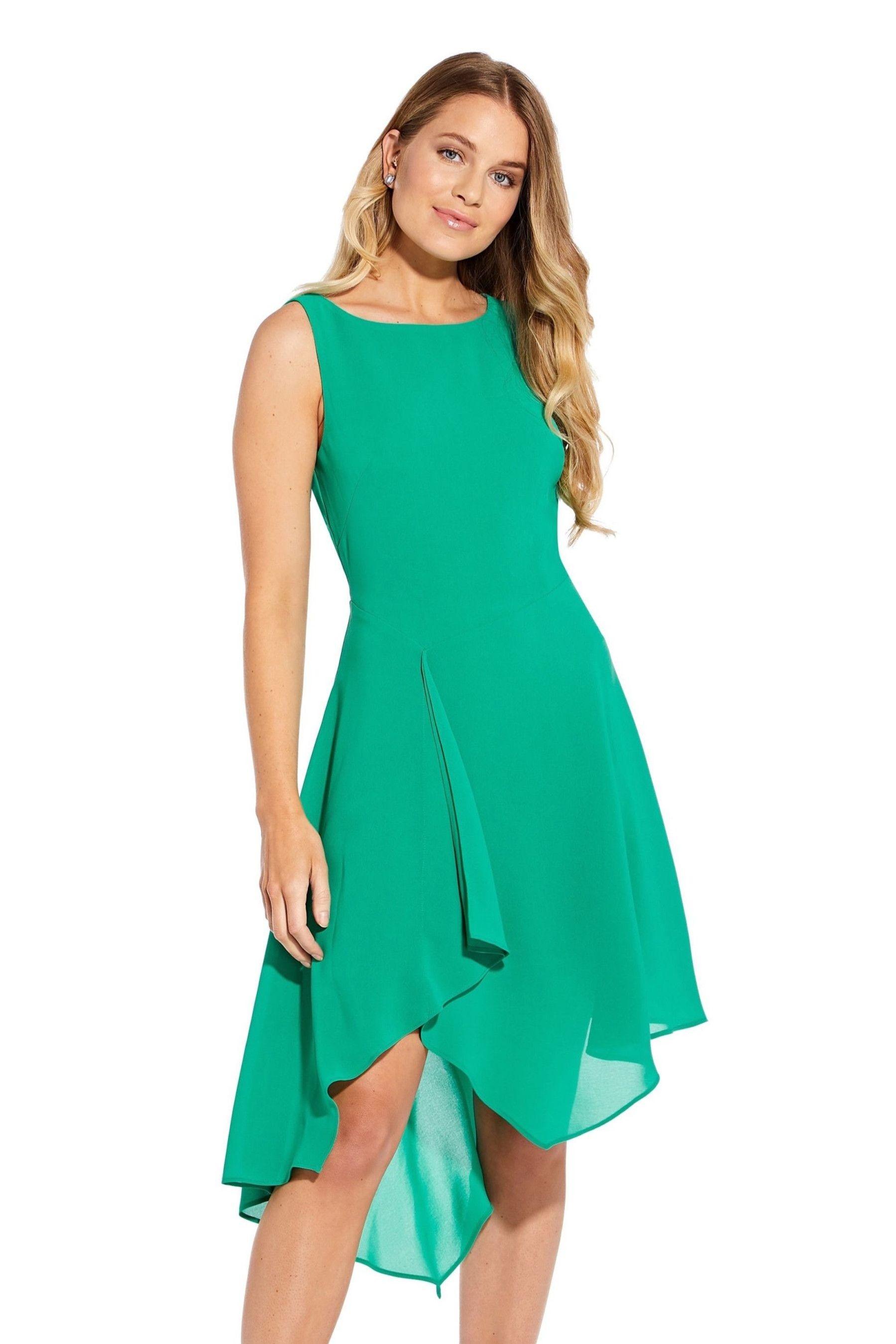 Photo of Womens Adrianna Papell Gauzy Crepe Origami Dress –  Green