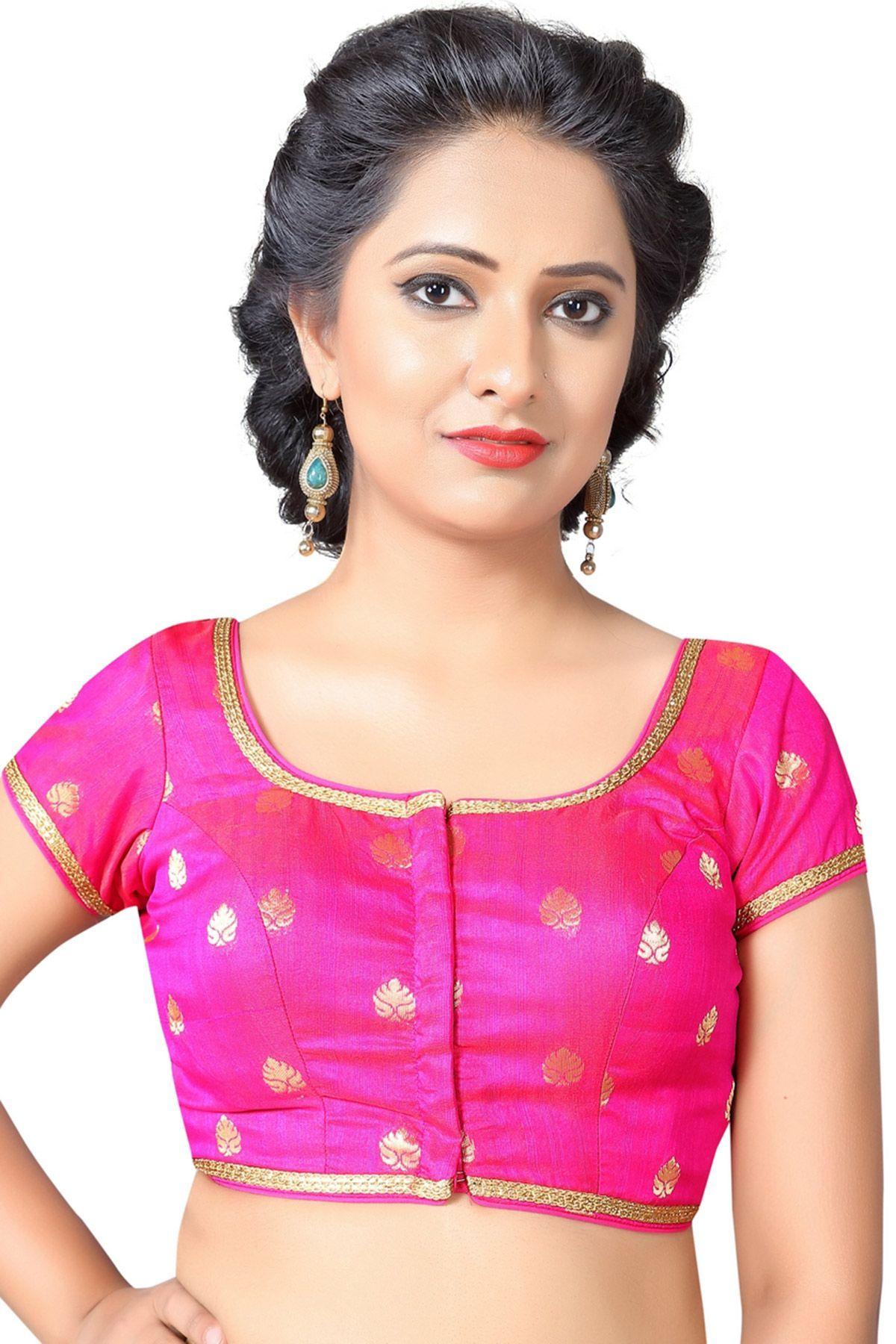 09cb7ecab0224 Pink Brocade Zari Woven Designer Banarasi Blouses-BL1791