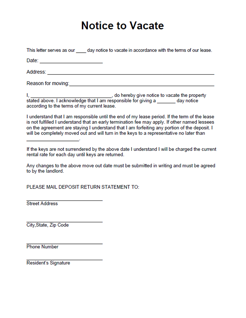 Printable Sample Vacate Notice Form  Legal Documents Online For